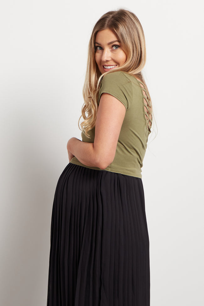 Olive Cutout Back Maternity Crop Top