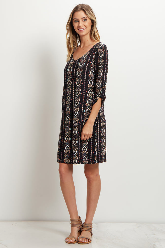 Black Printed 3/4 Sleeve Dress