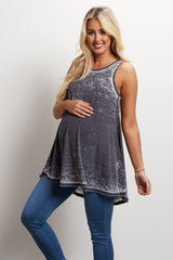 Black Faded Cutout Back Maternity Top
