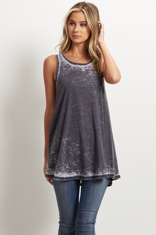 Black Faded Cutout Back Top