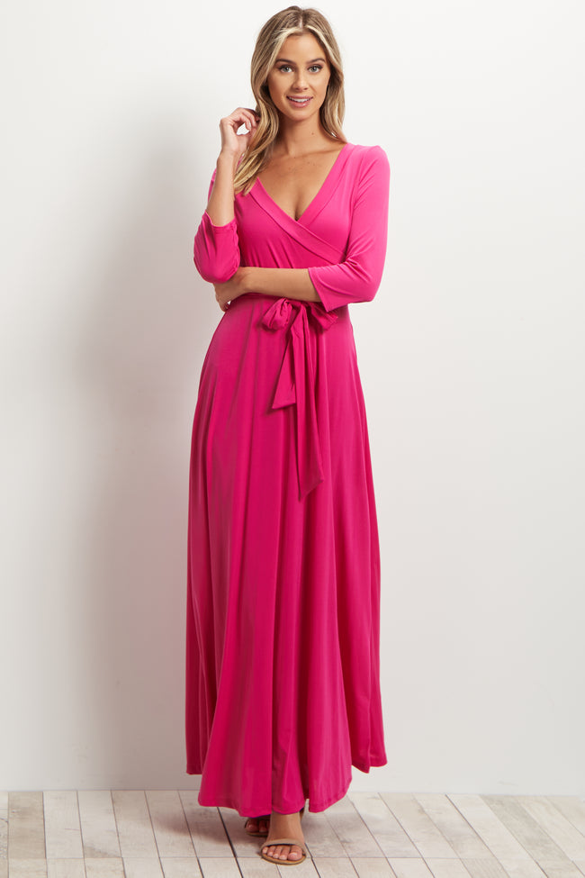Fuchsia Sash Tie Wrap Maxi Dress