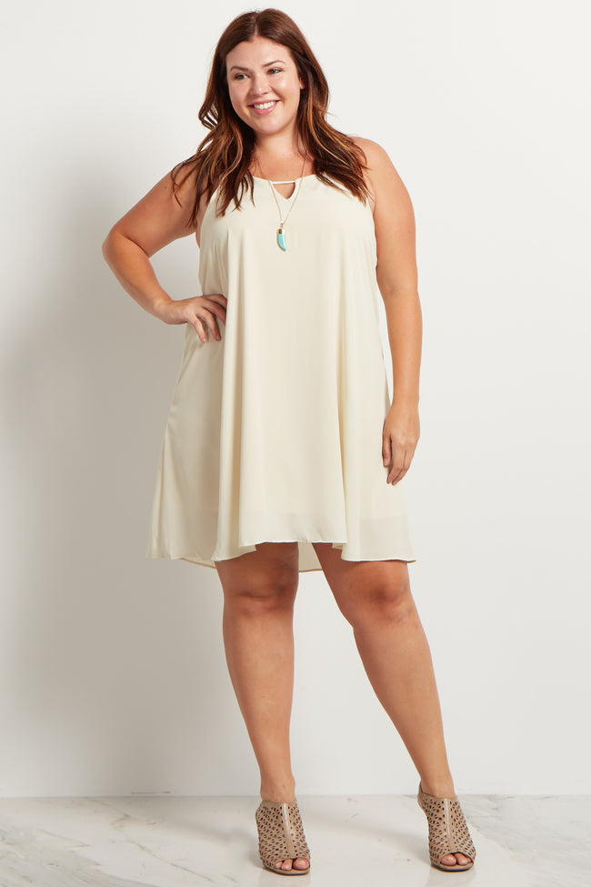 Beige Chiffon Cutout Plus Size Mini Dress