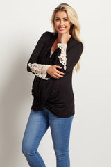 Black Draped Front Crochet Sleeve Maternity Top
