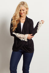 Black Draped Front Crochet Sleeve Top