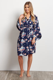 Navy Blue Rose Delivery/Nursing Maternity Robe
