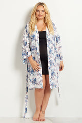 White Rose Plus Size Delivery/Nursing Maternity Robe