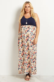Navy Blue Colorblock Floral Bottom Plus Size Maternity Maxi Dress