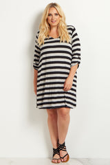 Black Striped 3/4 Sleeve Plus Size Maternity Dress