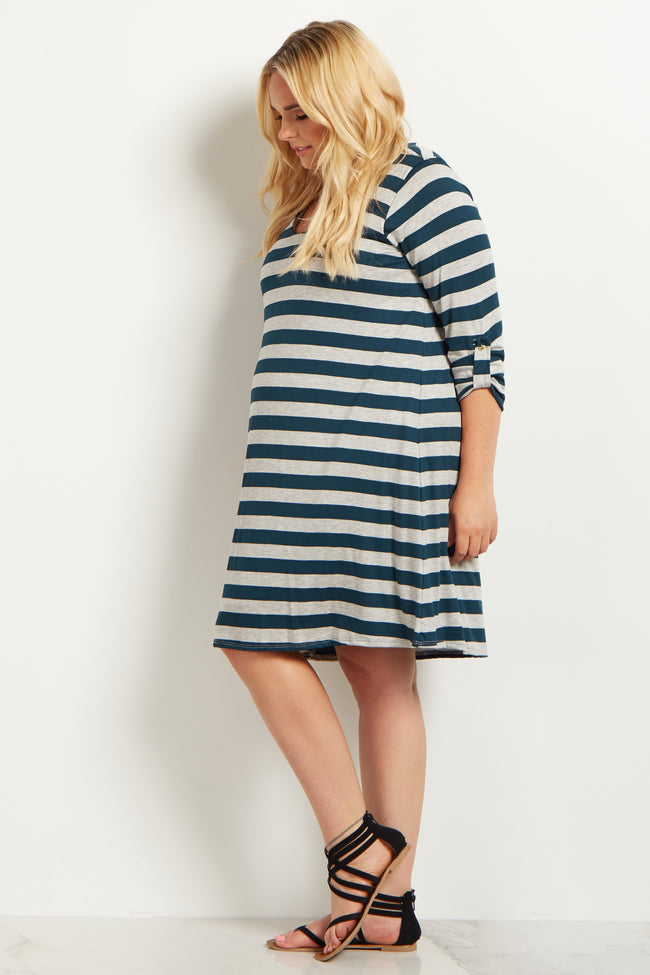 Green Striped 3/4 Sleeve Plus Size Maternity Dress