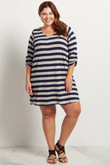 Navy Blue Striped 3/4 Sleeve Plus Size Dress