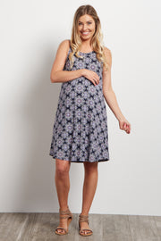 Navy Blue Printed Open Back Maternity Dress