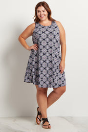 Navy Blue Printed Open Back Plus Size Dress