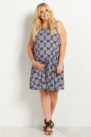 Navy Blue Printed Open Back Plus Size Maternity Dress