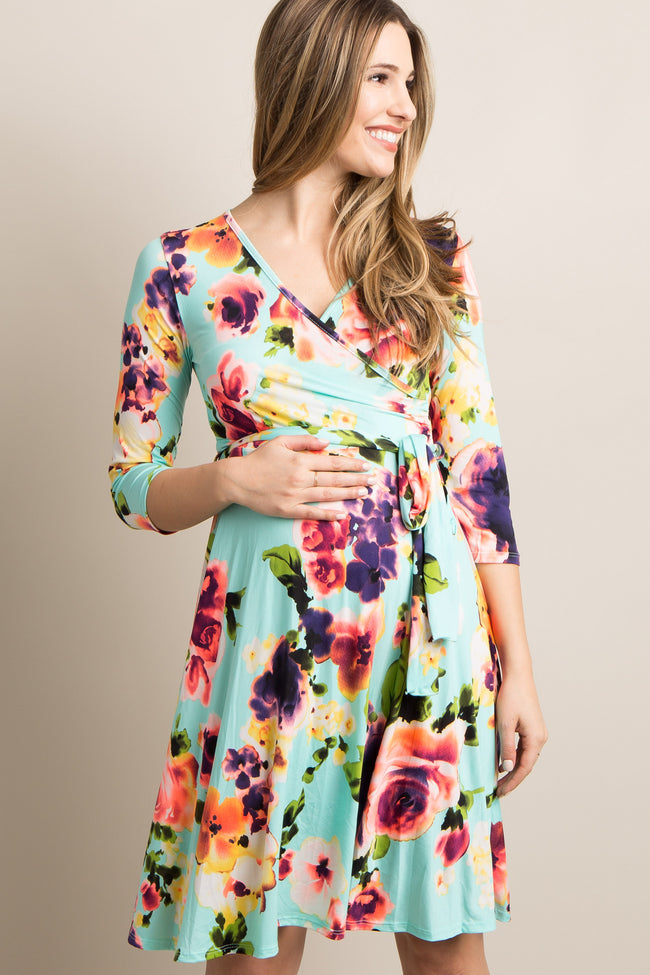 Mint Green Floral Sash Tie Maternity Dress