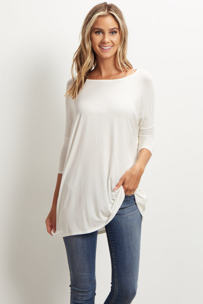 Ivory 3/4 Sleeve Dolman Top
