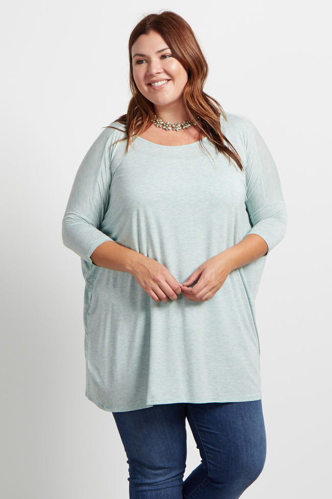 Mint 3/4 Sleeve Dolman Plus Top