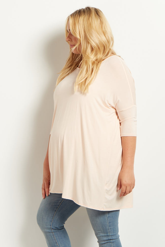 Light Pink 3/4 Sleeve Dolman Plus Size Maternity Top