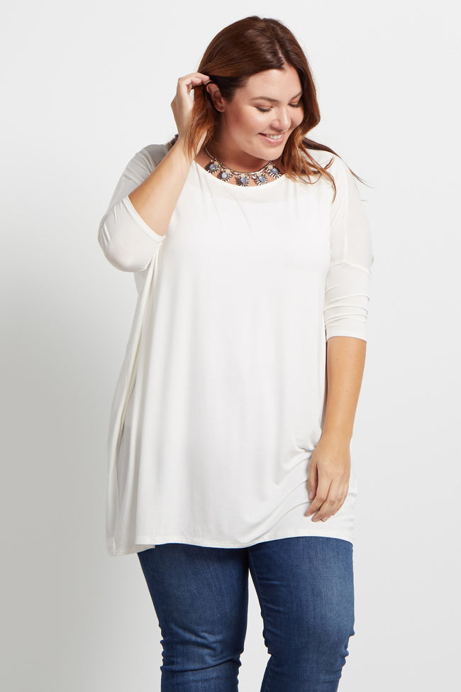 Ivory 3/4 Sleeve Dolman Plus Size Top