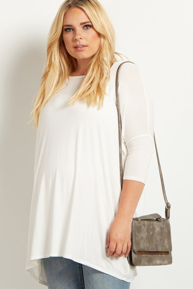 Ivory 3/4 Sleeve Dolman Plus Size Maternity Top