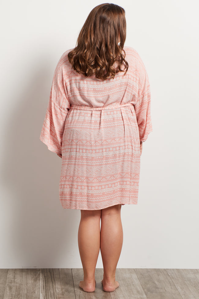 Light Pink Tribal Plus Size Delivery/Nursing Maternity Robe