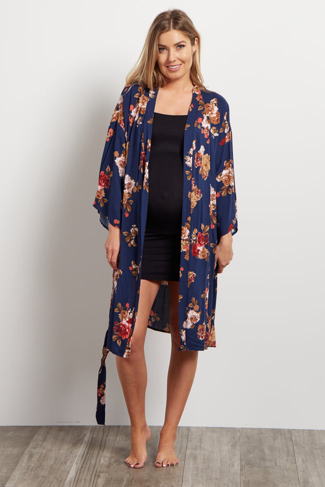 Navy Floral Delivery/Nursing Maternity Robe
