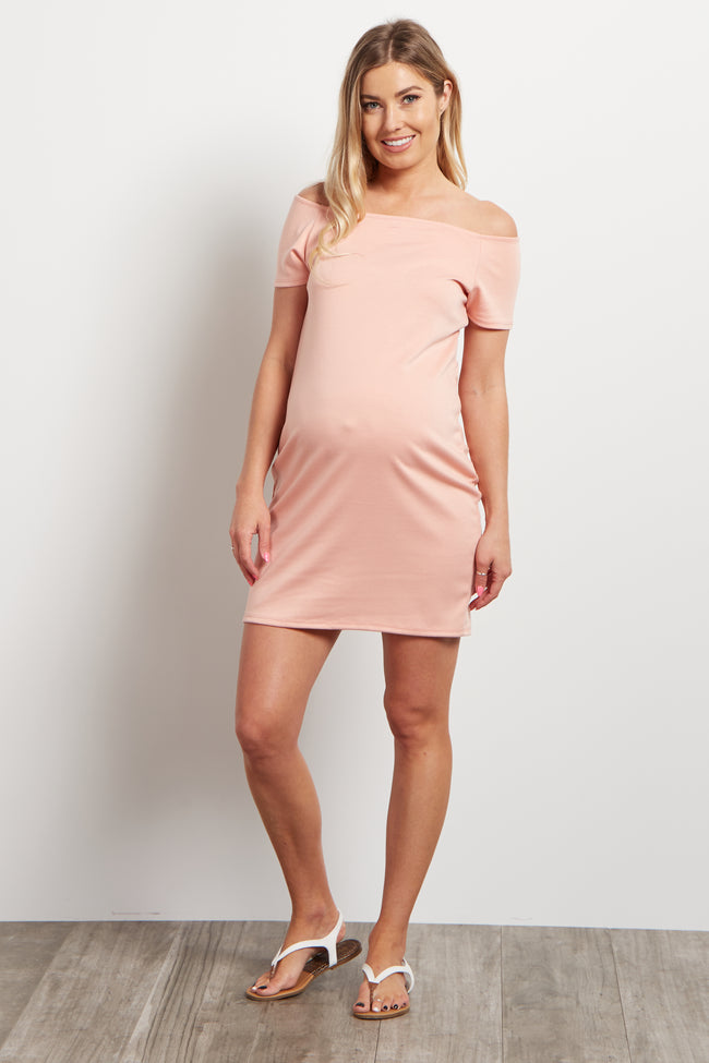 Pink Solid Off the Shoulder Maternity Dress