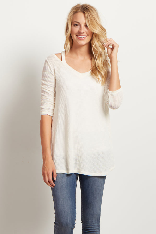Cream Cold Shoulder Thermal Maternity Top