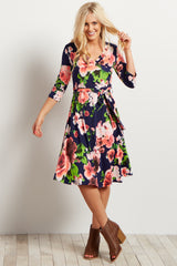 Navy Floral Sash Tie Maternity/Nursing Dress