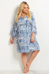 Navy Blue Tribal Plus Size Delivery/Nursing Maternity Robe