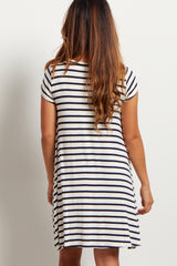 Navy Striped Short Sleeve Dress