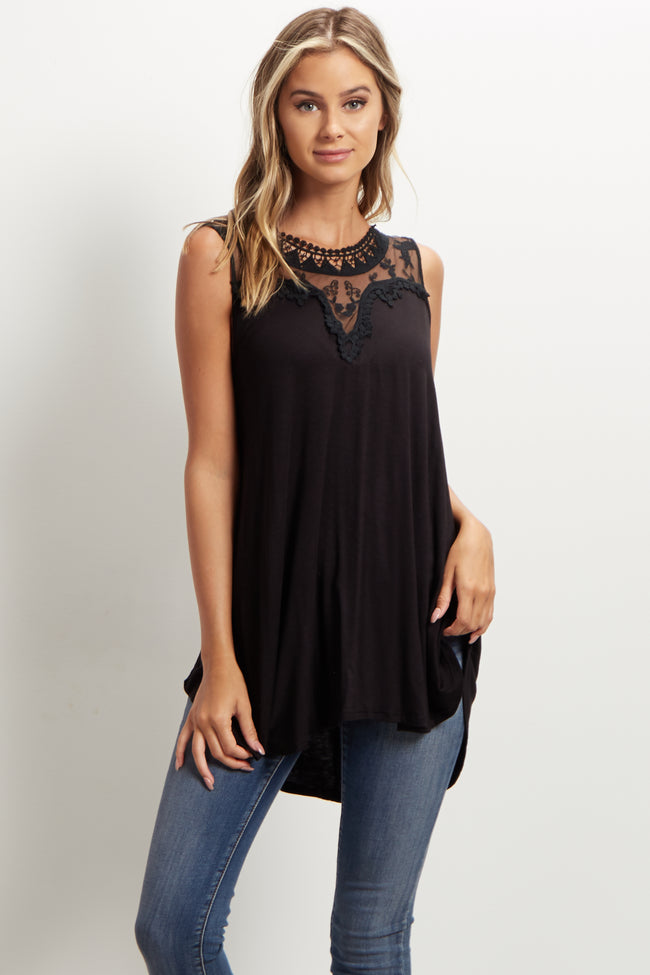 Black Mesh Neckline Tank Top