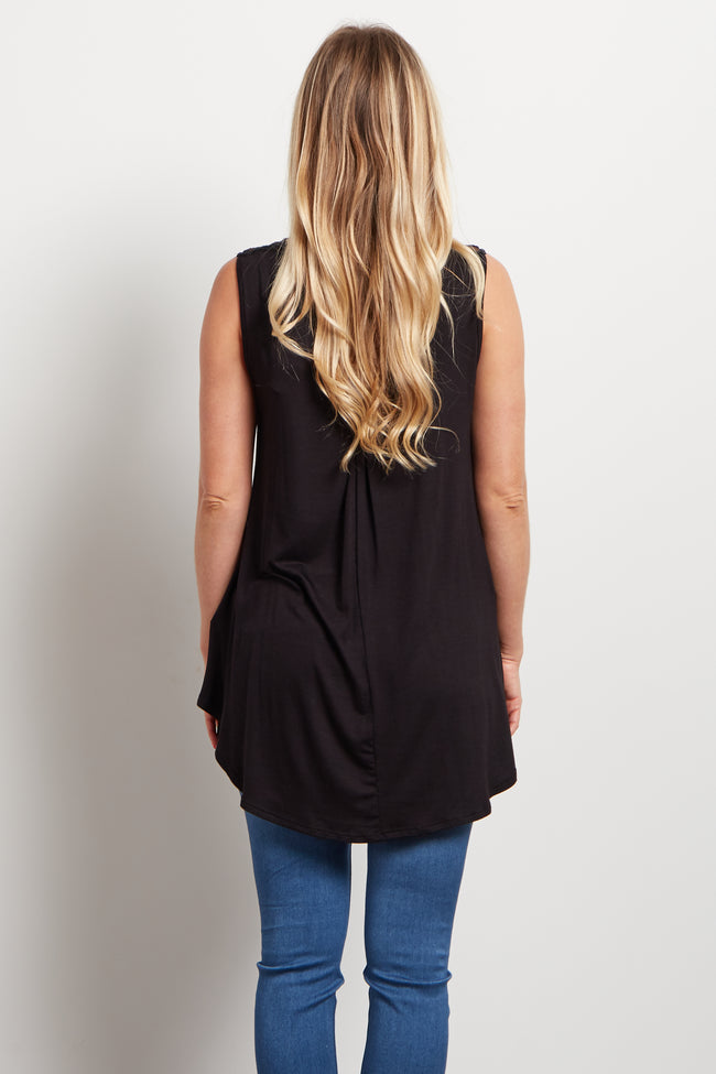 Black Mesh Neckline Maternity Tank Top