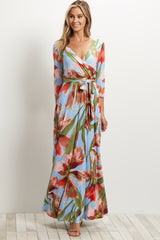 Coral Floral Sash Tie Wrap Maxi Dress