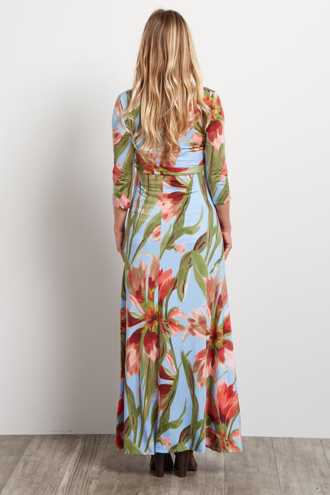 Blue Floral Sash Tie Wrap Maternity Maxi Dress