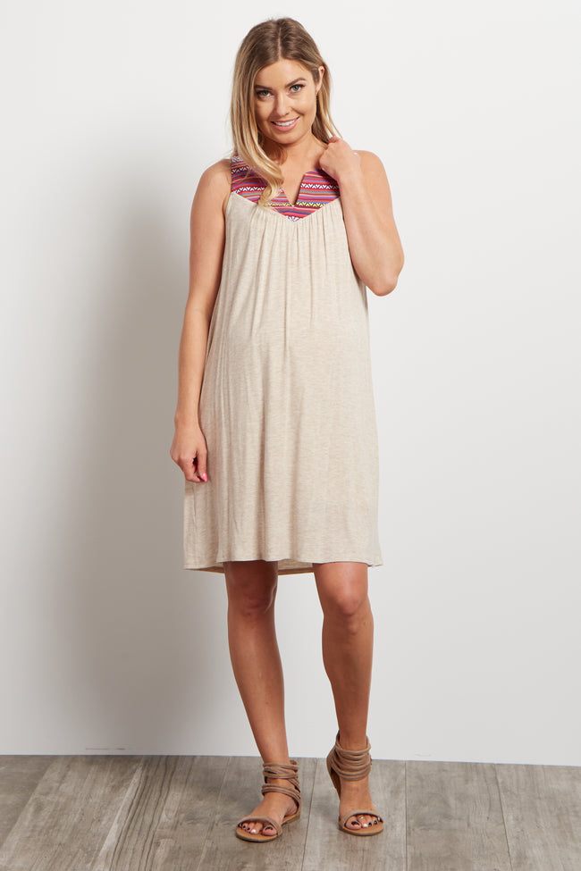 Beige Magenta Tribal V-Neckline Maternity Dress