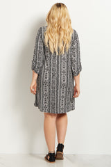Black Tribal 3/4 Sleeve Plus Size Maternity Dress