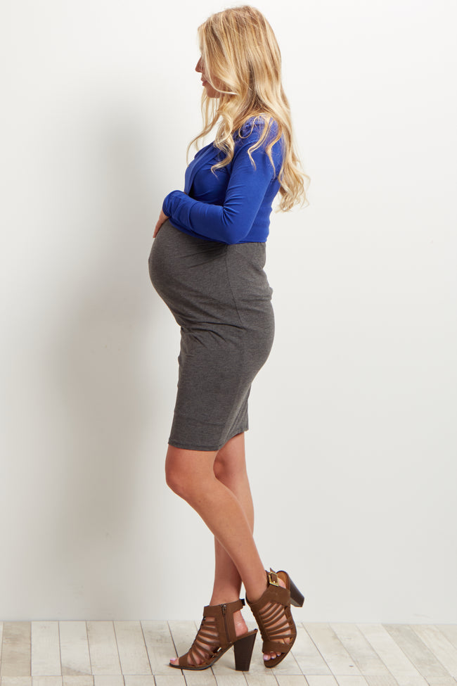 Royal Blue Asymmetric Maternity Crop Top
