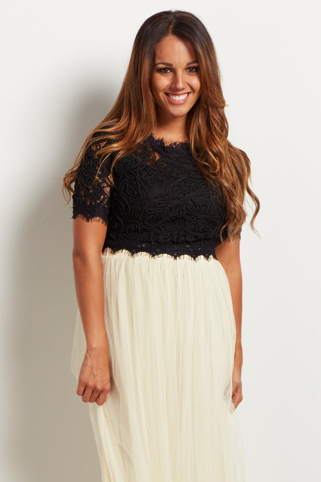 Black Fringed Lace Crop Top