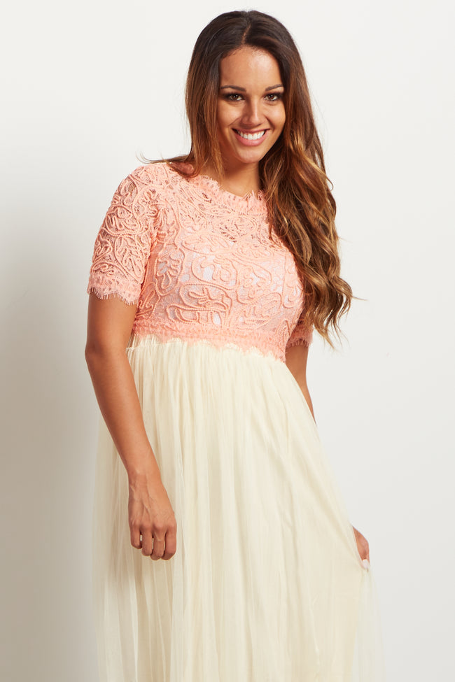 Peach Fringed Lace Maternity Crop Top