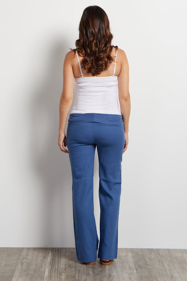 Blue Linen Maternity Pants