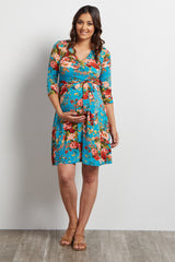 Jade Floral Sash Tie Draped Maternity Dress