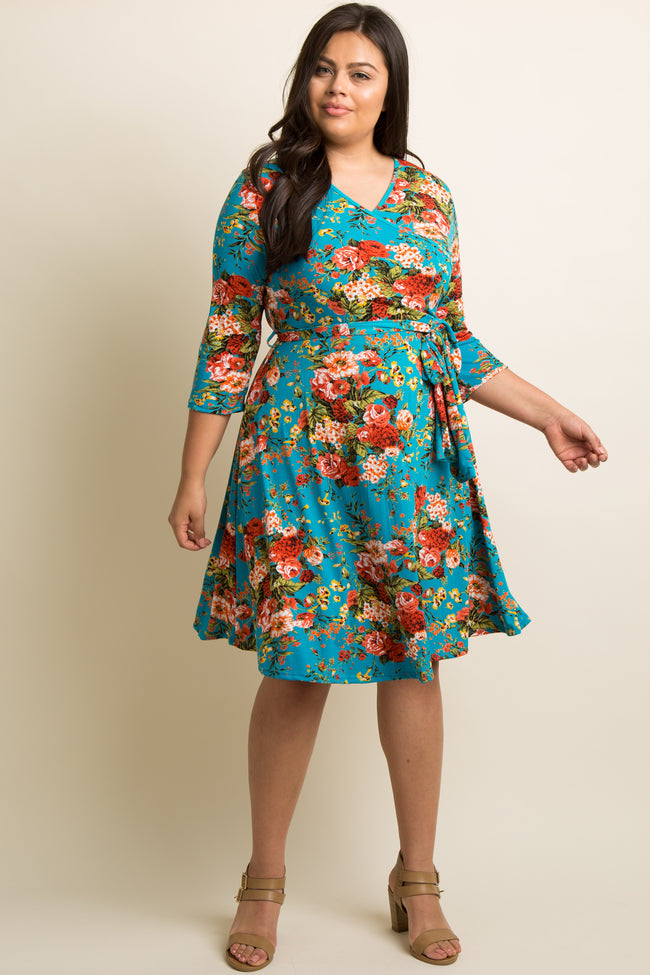 Jade Floral Draped Plus Dress