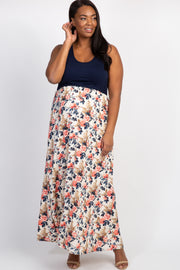 Ivory Floral Bottom Plus Maternity Maxi Dress
