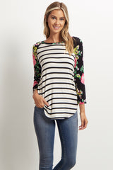 White Striped Floral Sleeve Maternity Top