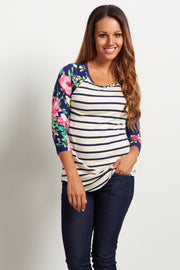Ivory Navy Striped Floral Sleeve Top
