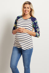 Ivory Navy Striped Floral Sleeve Maternity Top