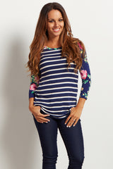 Navy Striped Floral Sleeve Maternity Top