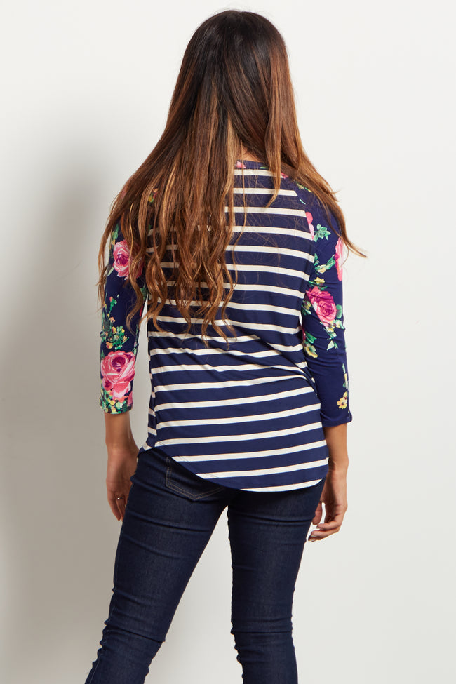 Navy Striped Floral Sleeve Top