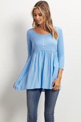 Blue Button Front Maternity Babydoll Top