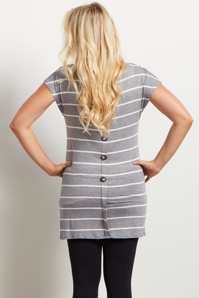 Grey Striped Pocket Front Button Back Maternity Top